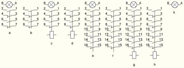 схема подключения выключателей ВК16-19.